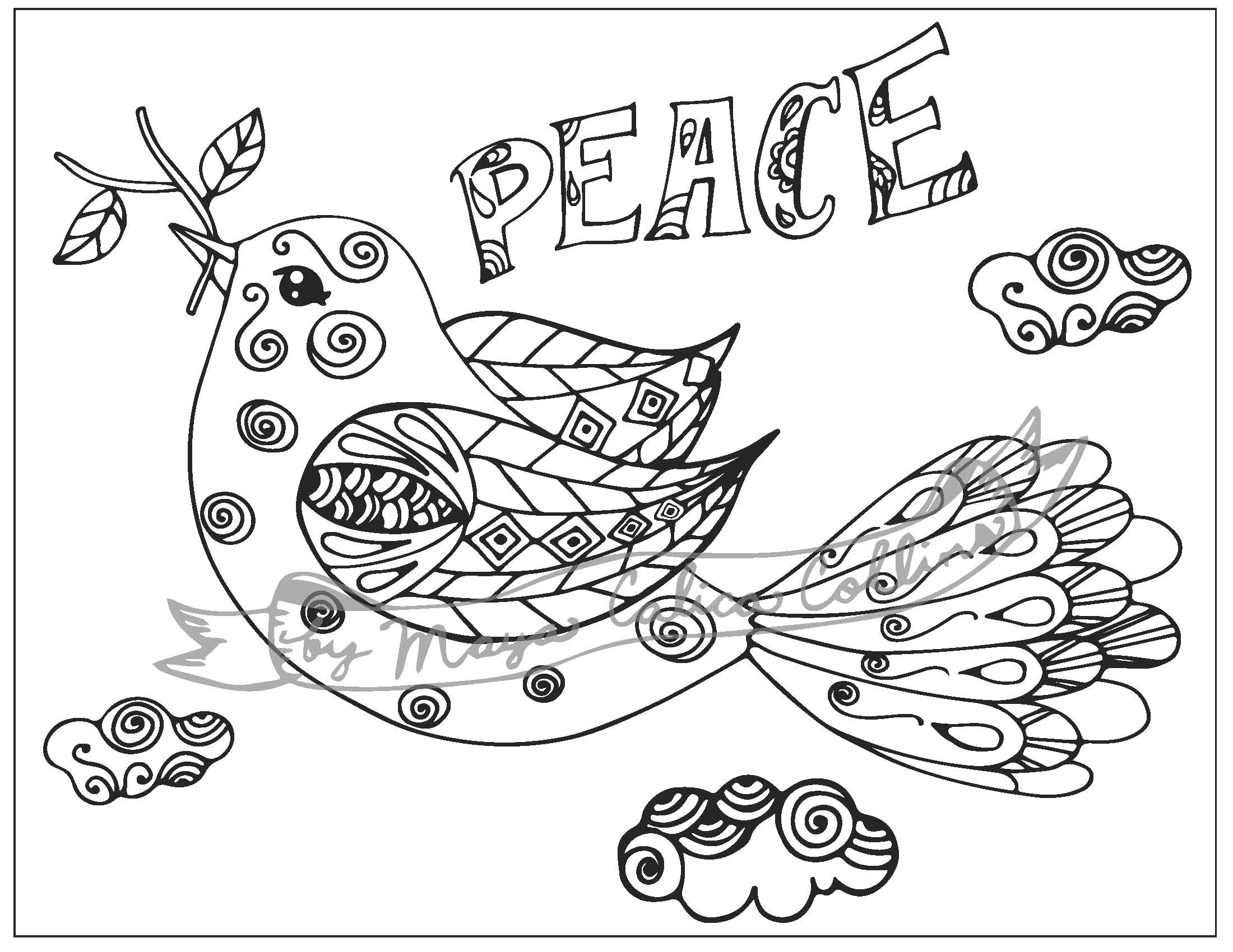 """""""Peace Dove"""" Adult Colouring Page, Bible Colouring Page"""